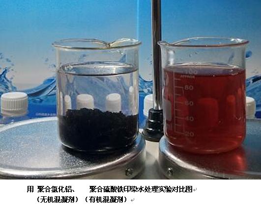 用聚合氯化铝 聚合硫酸铁印染水处理实验对比图